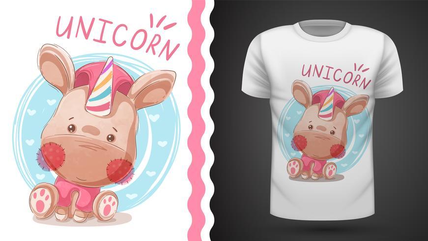 Teddy Unicorn - idée d'un t-shirt imprimé. vecteur