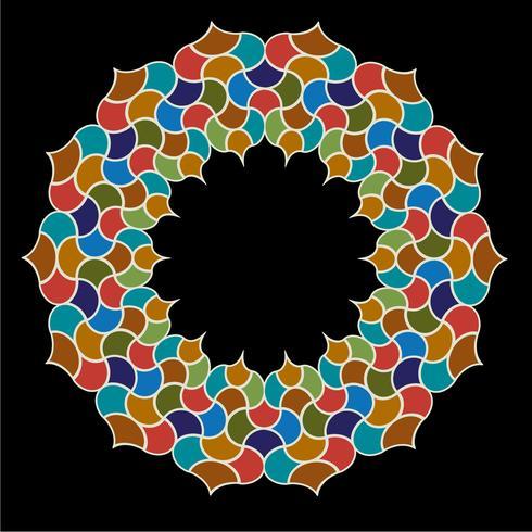 Cadre de cercle de tuile ornée marocaine vecteur