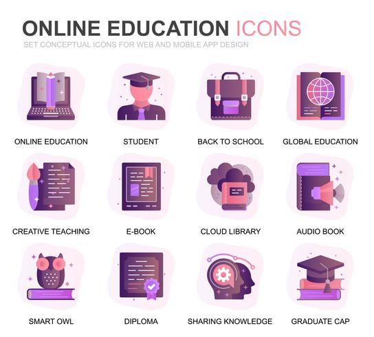Ensemble moderne d'éducation et de connaissances Gradient icônes plates pour site Web et applications mobiles. Contient des icônes telles qu'étudier, école, remise des diplômes, livre électronique. Icône plate couleur conceptuelle. Pack de pictogr vecteur