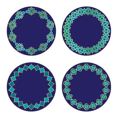 cadres cercle bleu marocain or vecteur