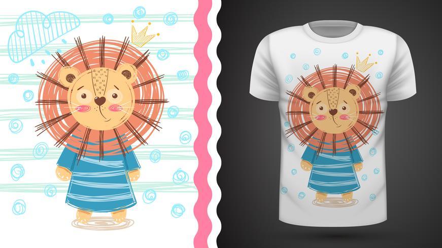 Lion mignonne - idée d'un t-shirt imprimé. vecteur