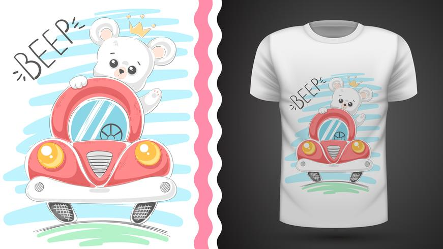 Tee shirt Ours mignon et voiture - idée pour imprimer vecteur