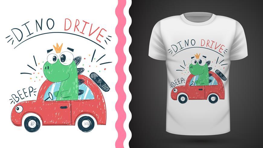 T-shirt dino mignon avec voiture - idée d'impression vecteur