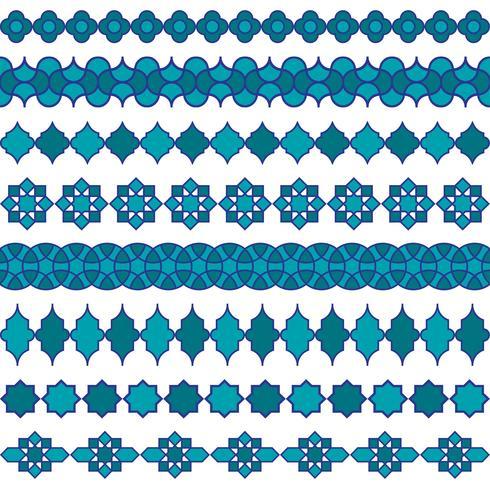 motifs de frontière marocains bleus vecteur
