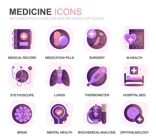 Ensemble moderne de soins de santé et icônes de gradient de médecine pour le site Web et les applications mobiles. Contient des icônes telles que médecin, hôpital, équipement médical. Icône plate couleur conceptuelle. Pack de pictogrammes de vecteur. vecteur