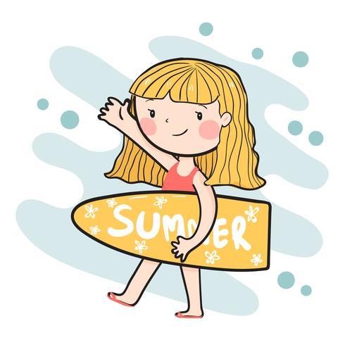 dessin fille mignonne surfeur heureux holding été plat vecteur de planche de surf