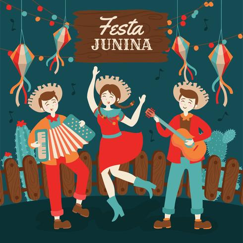 Festa Junina Brésil juin Festival dessiné à la main. Vacances folkloriques. vecteur