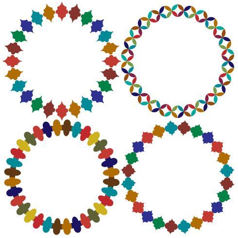 cadres de carreaux marocains circulaires vecteur