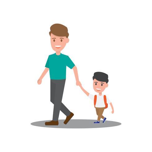 Caractère de famille. Enfants et parents marchant. vecteur
