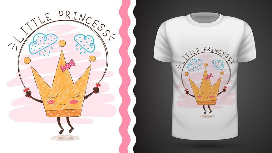 Gold crown - idée de t-shirt imprimé. vecteur