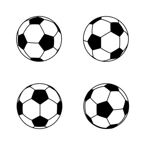 Collection de ballon de football noir et blanc simple et basique 001 vecteur