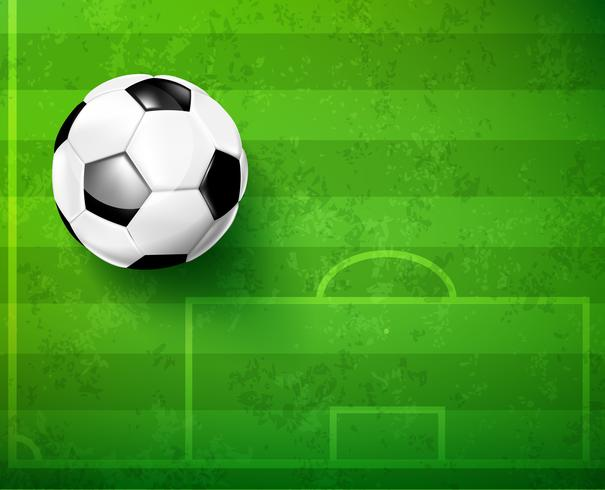 Ballon de foot avec champ de verre vert vecteur