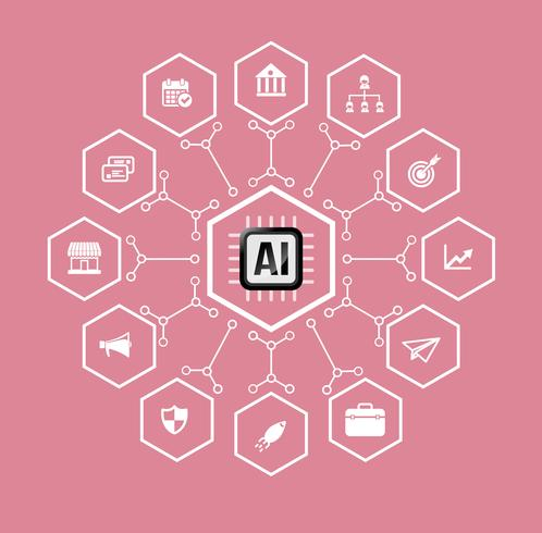 IA Intelligence artificielle Technologie pour les affaires et les éléments financiers vecteur