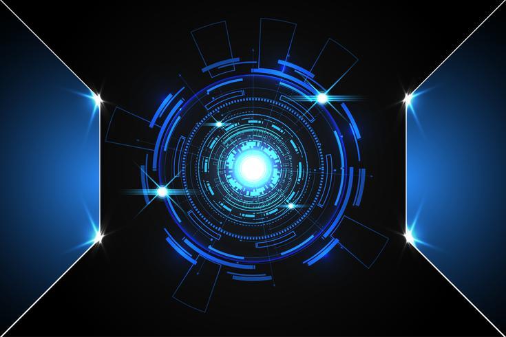 abstrait technologie fond concept cercle circuit numérique métal bleu sur hi tech future design vecteur
