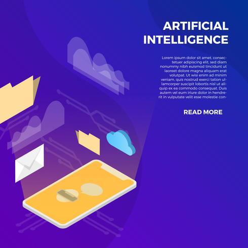 Montre intelligente avec intelligence artificielle vecteur