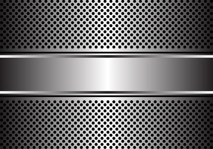 Bannière argent abstraite sur hexagone maille conception illustration vectorielle de fond moderne de luxe. vecteur