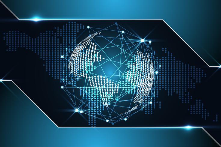 abstrait technologie fond concept numérique carte du monde point métallique bleu sur salut futur technologie vecteur