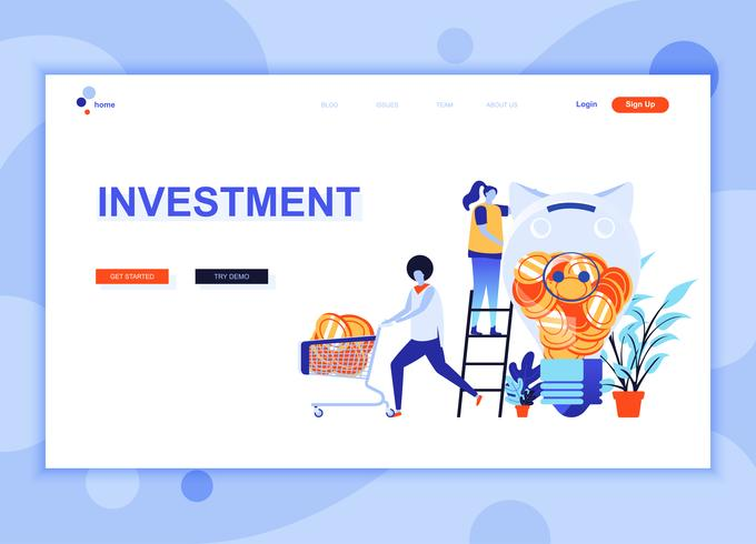 Le concept de modèle de conception de page Web plat moderne de Business Investment a décoré le caractère de personnes pour le développement de site Web et de site Web mobile. Modèle de page d'atterrissage plat. Illustration vectorielle vecteur