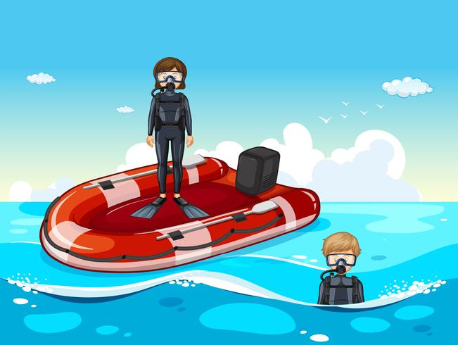 Les gens plongent dans l'océan vecteur
