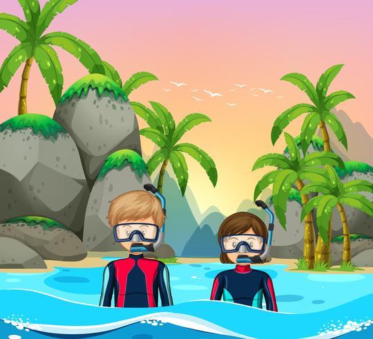 Deux plongeurs au bord de la mer vecteur