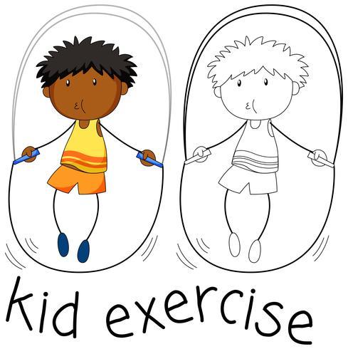 Exercice de personnage de Doodle Boy vecteur