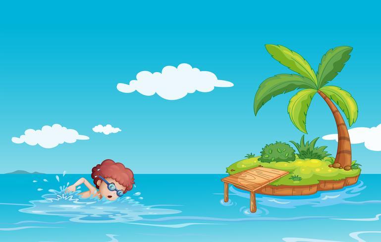 Un adolescent nageant à la mer avec une petite île vecteur
