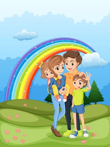 Une famille se promener avec un arc en ciel dans le ciel vecteur