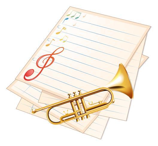 Un papier de musique vide avec une trompette vecteur
