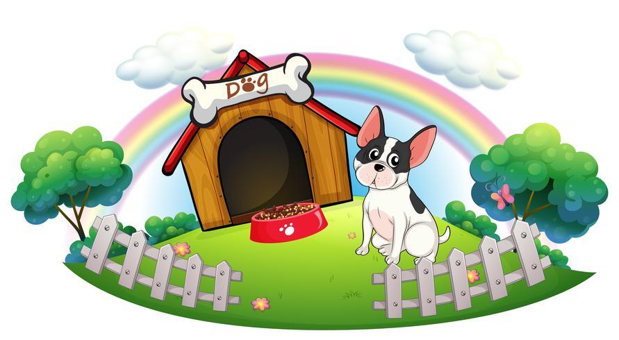 Un chien avec une maison de chien et une nourriture pour chien à l'intérieur de la clôture vecteur