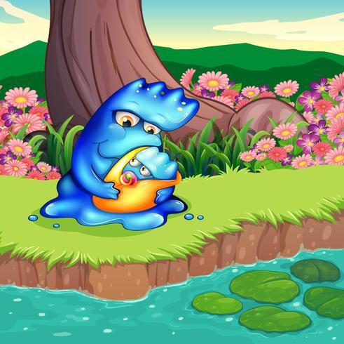 Une mère monstre et son enfant au bord de la rivière vecteur