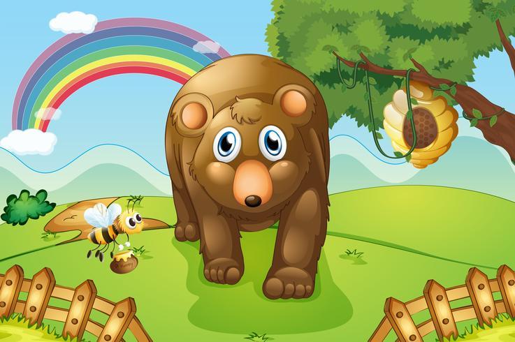 Un gros ours brun sur les collines vecteur