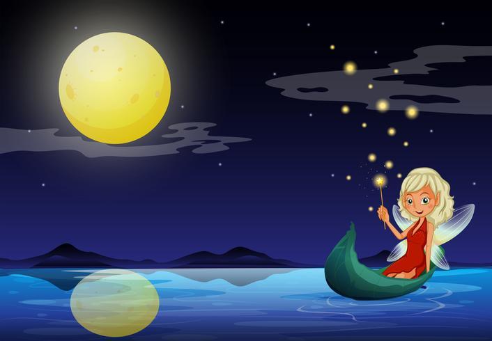 Une fée dans un bateau tenant une baguette vecteur