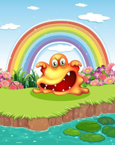 Un monstre effrayant à l'étang et un arc-en-ciel dans le ciel vecteur