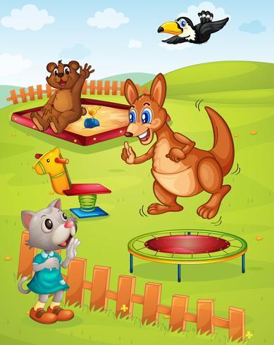 Aire de jeux pour animaux vecteur