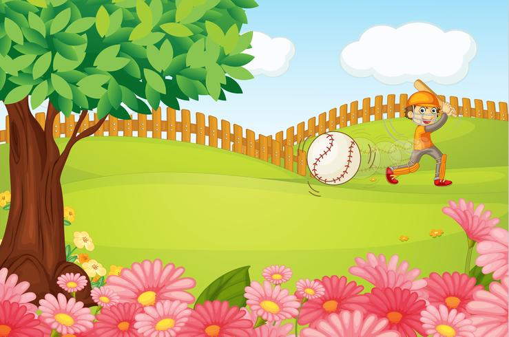 Un garçon jouant au cricket vecteur