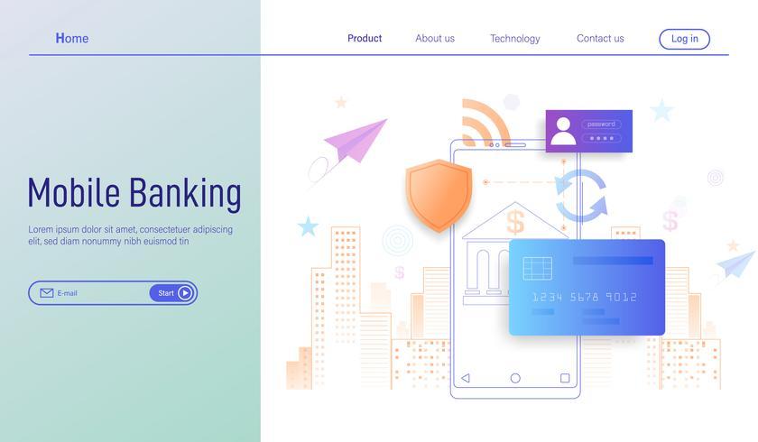 Concept de design plat moderne de services bancaires mobiles pour landing page, paiement en ligne et protection de l'argent dans le vecteur de transactions smartphone