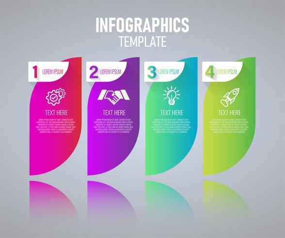 Modèle de conception infographie coloré, éléments abstraits de grah avec étapes. illustration vectorielle vecteur