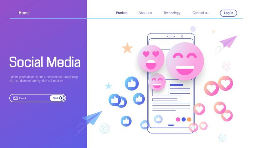 Vecteur de concept de design plat moderne de médias sociaux