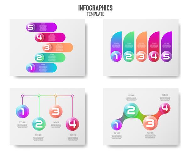 Collection d'éléments infographiques de boules 3d colorées vecteur