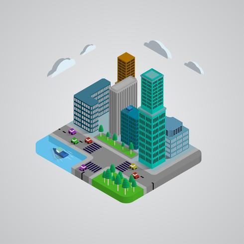 Conception 3D de bâtiments modernes isométriques vecteur