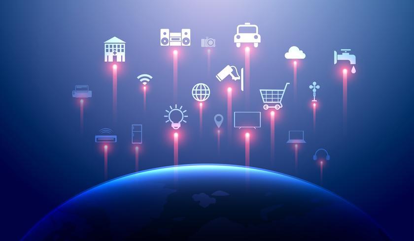 Internet des objets (iot) et concept de maison intelligente. Le réseau 5g et l'informatique en nuage connectent des périphériques sans fil à l'échelle mondiale vecteur