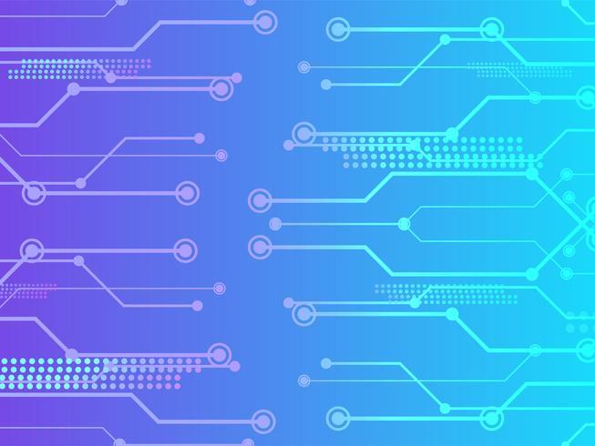 Fond de technologie abstraite cyan violet avec le concept de ligne de circuit vecteur