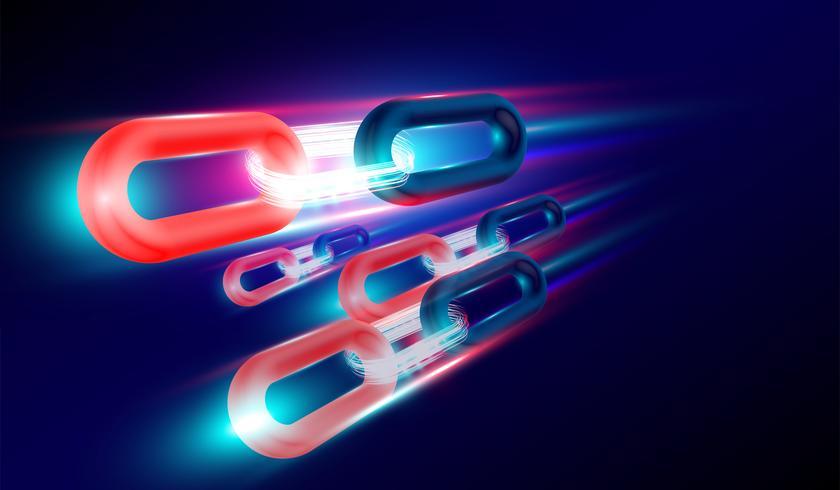 Technologie BlockChain avec concept de rendu 3D, chaînettes lumineuses reliées entre elles et flyer. Vecteur