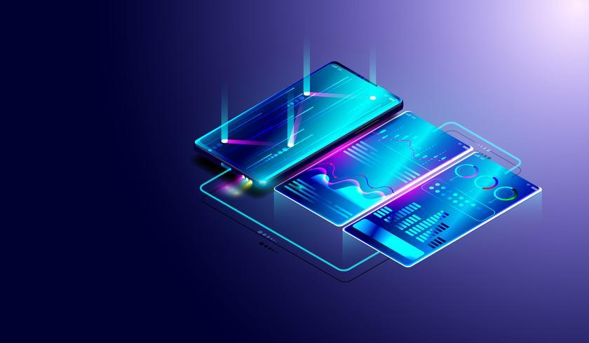 Analyse des tendances commerciales sur un écran isométrique de smartphone avec graphiques et diagrammes, processus d'analyse financière et de données. vecteur