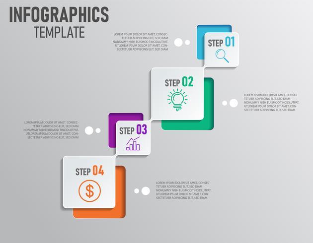 Infographie moderne de la présentation de l'entreprise avec étape et 4 options vecteur
