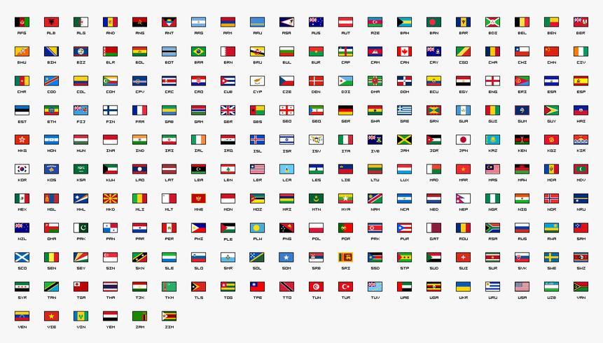 Drapeaux de pays du monde Conçu en 30x20 pixels. vecteur