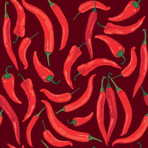 Modèle sans couture de poivre. Fond de légume ingrédient alimentaire épice chaud vecteur