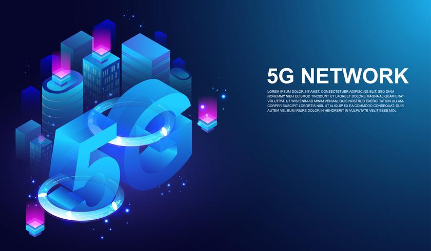 Système sans fil de réseau 5G, 5ème télécommunication internet sur le concept de ville intelligente Vector. vecteur