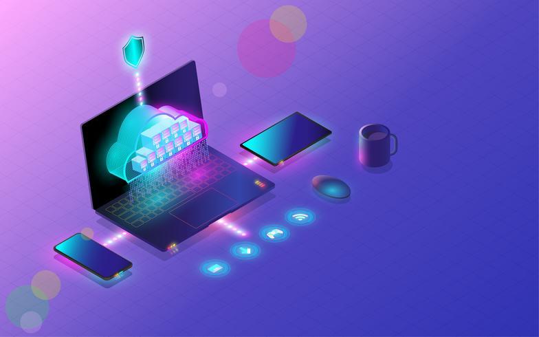 Base de données en nuage se connecter via un smartphone, un ordinateur portable et une tablette, conception moderne, hébergement de serveur Web, cloud computing, synchronisation de données multiplate-forme. illustration vectorielle vecteur