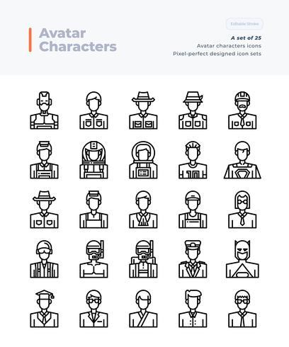 Vecteur détaillé ligne Icons Set of People and Avatar. 64x64 Pixel Stroke Perfect et Editable.